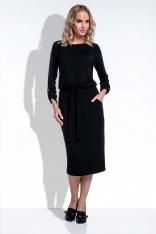 Midi Czarna Sukienka w Stylu Casual z Podpinanymi Rękawami