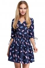 Granatowa Sukienka Wzorzysta w Stylu Boho Model 3