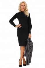 Czarna Gustowna Ołówkowa Sukienka na Stójce