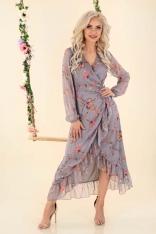 Długa Kopertowa Sukienka w Kwiaty