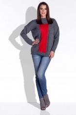 Grafitowy Ciepły Oversizowy Sweter z Ozdobnym Warkoczem