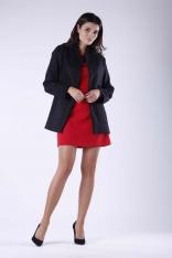 Czarny Krótki Elegancki Płaszcz bez Kołnierza