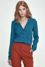 Zielona Koszula Elegancka z Dekoltem V