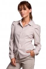 Klasyczna Koszula z Bufiastymi Rękawami - Beżowa