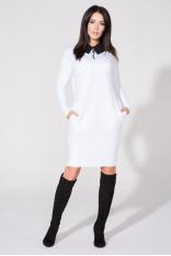 Biała Sukienka z Dołączonym Kołnierzykiem