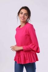Ciemno Różowa Bawełniana Bluzka z Falbankami