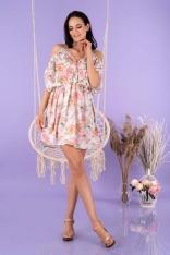 Zwiewna Krótka Sukienka w Pastelowe Róże