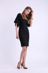 Czarna Ołówkowa Sukienka z Dekoltem na Plecach