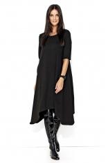 Czarna Asymetryczna Sukienka z Wiązanym Paskiem