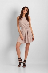Beżowa Mini Sukienka z Falbanką