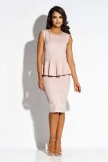 Różowa Sukienka Ołówkowa bez Rękawów z Baskinką