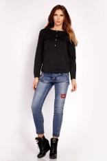 Czarna Bluzka Koszulowa z Krótkim Zapięciem