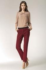 Szykowne Bordowe Spodnie z Kontrastowymi Lamówkami przy Kieszeniach