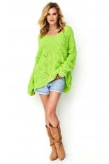Ażurowy Sweter Oversize z Dekoltem V - Limonkowy