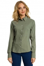 Khaki Koszula Taliowana z Ozdobnymi Tasiemkami