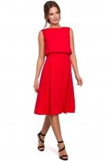 Czerwona Rozkloszowana Sukienka z Wycięciem na Plecach