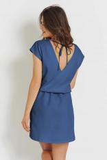 Niebieska Prosta Sukienka z Dekoltem V na Lato