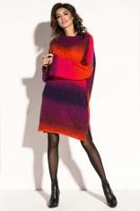 Różowa Swetrowa Stylowa Sukienka z Bufiastym Rękawem