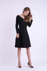 Czarna Rozkloszowana Sukienka z Dekoltem w Kształcie Litery V