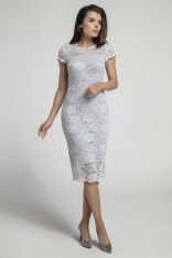 Szara Koronkowa Ołówkowa Sukienka Midi z Dekoltem V na Plecach