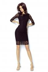 Czarna Sukienka z Szyfonową Wstawką na Rękawach