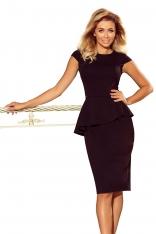 Czarna Elegancka Ołówkowa Sukienka Midi z Asymetryczną Baskinką