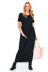 Czarna Długa Dresowa Sukienka z Kieszeniami