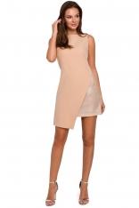 Beżowa Wieczorowa Asymetryczna Sukienka Mini