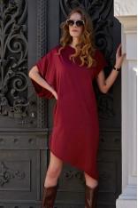 Asymetryczna Sukienka na Lato - Bordowa