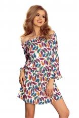 Wzorzysta Dziewczęca Sukienka z Falbankami w Kolorowe Pióra