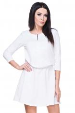 Biała Sukienka Codzienna z Suwakiem