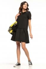 Czarna Sukienka z Falbanką i Dekoracyjnym Wiązaniem przy Dekolcie