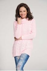 Różowy Sweter z Warkoczem z Dużym Golfem