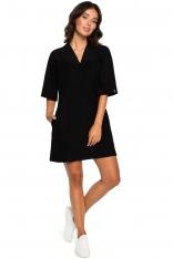 Czarna Prosta Mini -Sukienka Tunika z Dekoltem V