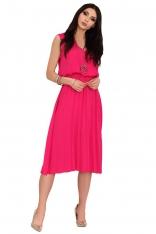 Różowa Plisowana Sukienka z Kopertowym Dekoltem