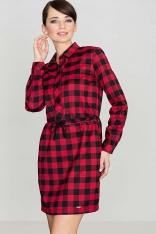 Czarno&Czerwona Sukienka Typu Szmizjerka w Kratę z Długim Rękawem