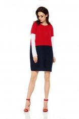 Czerwony Granatowy Luźny Trójkolorowy Sweter Sukienka
