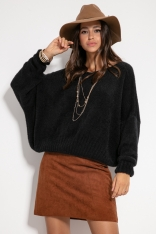 Czarny Milutki Sweter Oversize