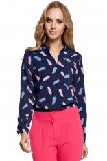 Wzorzysta Granatowa Bluzka Koszulowa ze Stójką Model 3