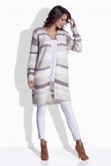 Beżowy Sweter Prosty w Paski bez Zapięcia