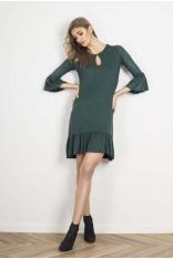 Zielona Luźna Sukienka Dzianinowa z Falbankami