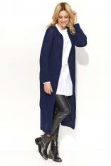 Granatowy Długi Sweter-Płaszcz z Rozciętymi Bokami