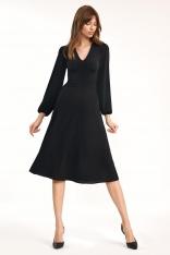 Czarna Elegancka Midi Sukienka z Bufiastym Rękawem