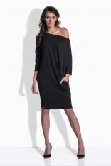 Czarna Sukienka Luźna z Suwakiem