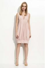 Różowa Sukienka Mini Bombka z Dekoltem w Szpic