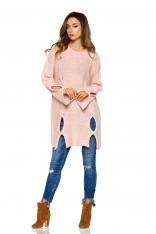 Dłuższy Różowy Sweter z Owalnymi Wycięciami