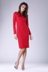 Czerwona Prosta Midi Sukienka z Dżetami