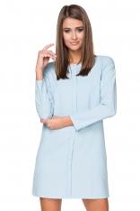 Błękitna Sukienka Elegancka z Plisą na Przodzie