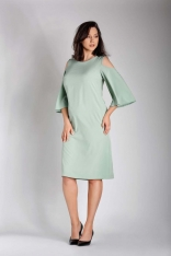 Zielona Prosta Midi Sukienka z Rozkloszowanym Rękawem PLUS SIZE