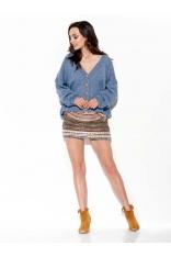 Krótki Sweter Zapinany na Guziki - Jeansowy